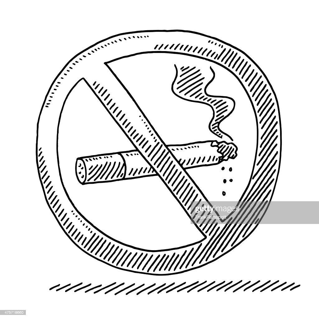 No Smoking Warning Sign Drawing : Stock Illustration