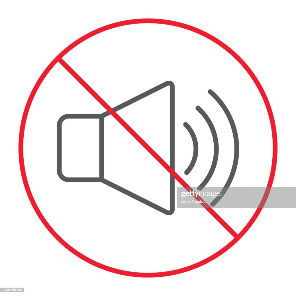 No sound thin line icon, prohibition and forbidden, no noise sign vector graphics, a linear pattern on a white background, eps 10.
