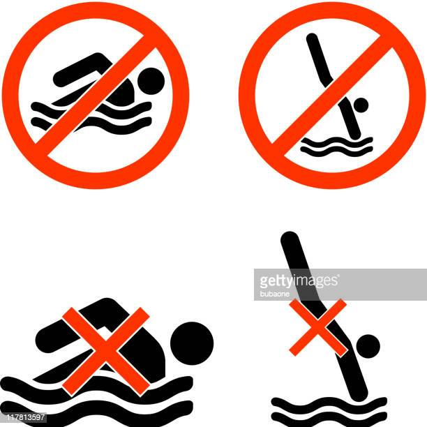 no swimming diving black and white royalty-free vector icon set