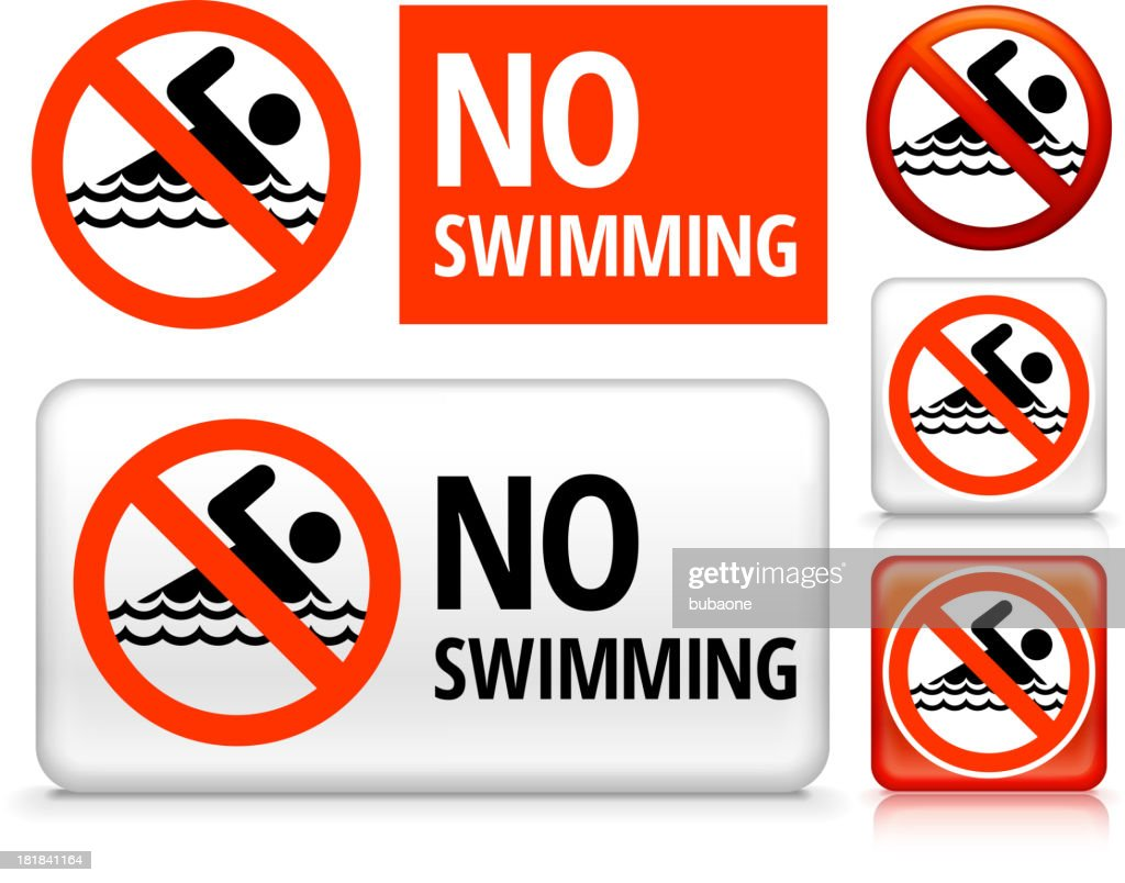 No Swimming royalty free vector art Buttons : Vector Art
