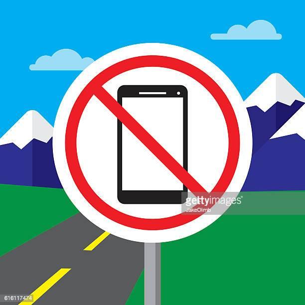 ilustrações de stock, clip art, desenhos animados e ícones de no texting while driving sign - proibido celular