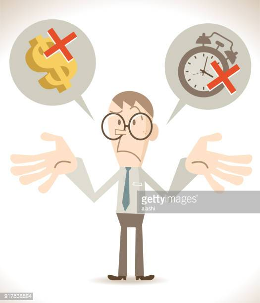 no time, no money, businessman is shrugging his shoulders and worried about that - shrugging stock illustrations, clip art, cartoons, & icons