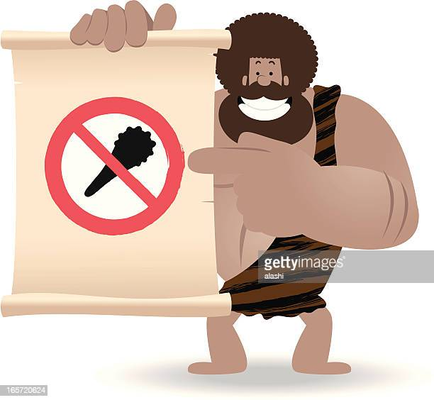 no violence! prehistoric man pointing a sign by index finger - early homo sapiens stock illustrations, clip art, cartoons, & icons