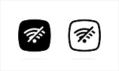 No Wifi icon. Wifi network is not available vector icon. Connection problem filled. No internet signal. No Connection. Vector EPS 10. Isolated on white background.