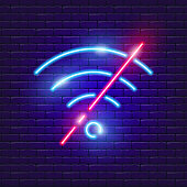 No wi-fi neon sign. Vector illustration for the design of advertising, website, promotion, banner, brochure, flyer. Concept connection.