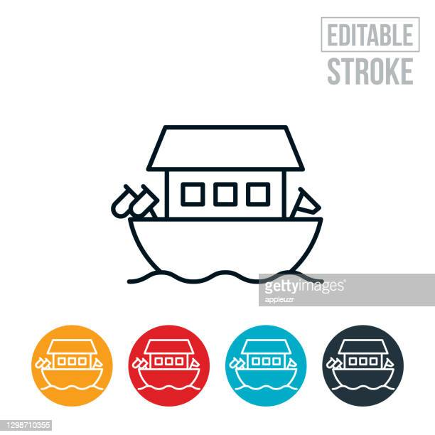noah's ark thin line icon - editable stroke - ark stock illustrations