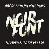 Noir alphabet font. Uppercase brushstroke letters and numbers.
