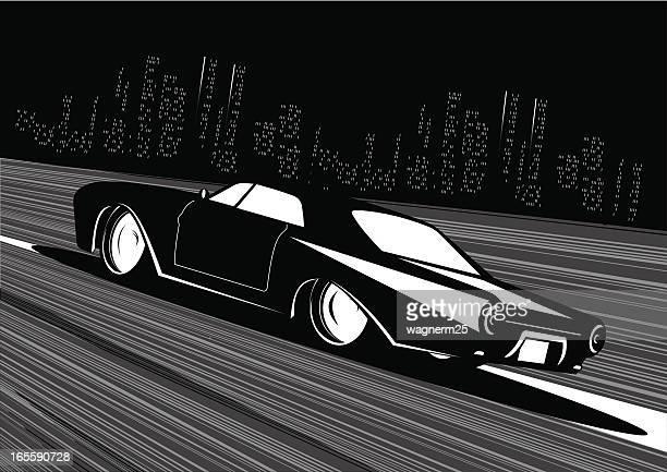 noir car hit the road - low rider stock illustrations