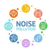 Noise Pollution Concept Card Round Design. Vector