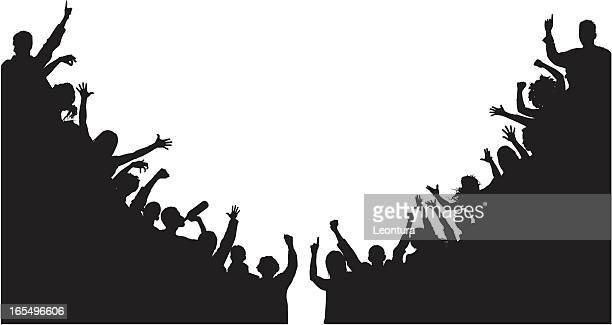 noisy corner crowds - fan enthusiast stock illustrations