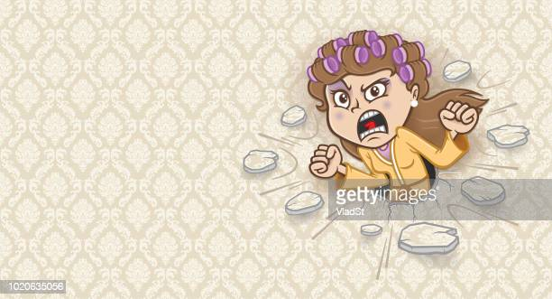 noisy neighbor angry mother mad housewife stressed out woman screaming - menopause stock illustrations, clip art, cartoons, & icons