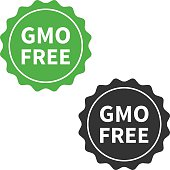 Non GMO or GMO free food packaging seal or sticker flat icon
