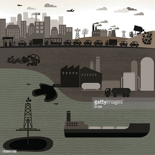 non-renewable industries - water pollution stock illustrations