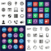 Nonstop Service or 247 Service Icons All in One Icons Black & White Color Flat Design Freehand Set