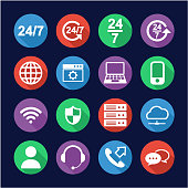 Nonstop Service or 247 Service Icons Flat Design Circle