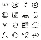 Nonstop Service or 247 Service Icons Freehand