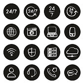 Nonstop Service or 247 Service Icons Freehand White On Black Circle