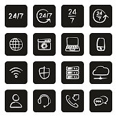 Nonstop Service or 247 Service Icons Freehand White On Black