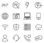 Nonstop Service or 247 Service Icons Thin Line Vector Illustration Set