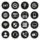 Nonstop Service or 247 Service Icons White On Black Circle