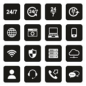 Nonstop Service or 247 Service Icons White On Black
