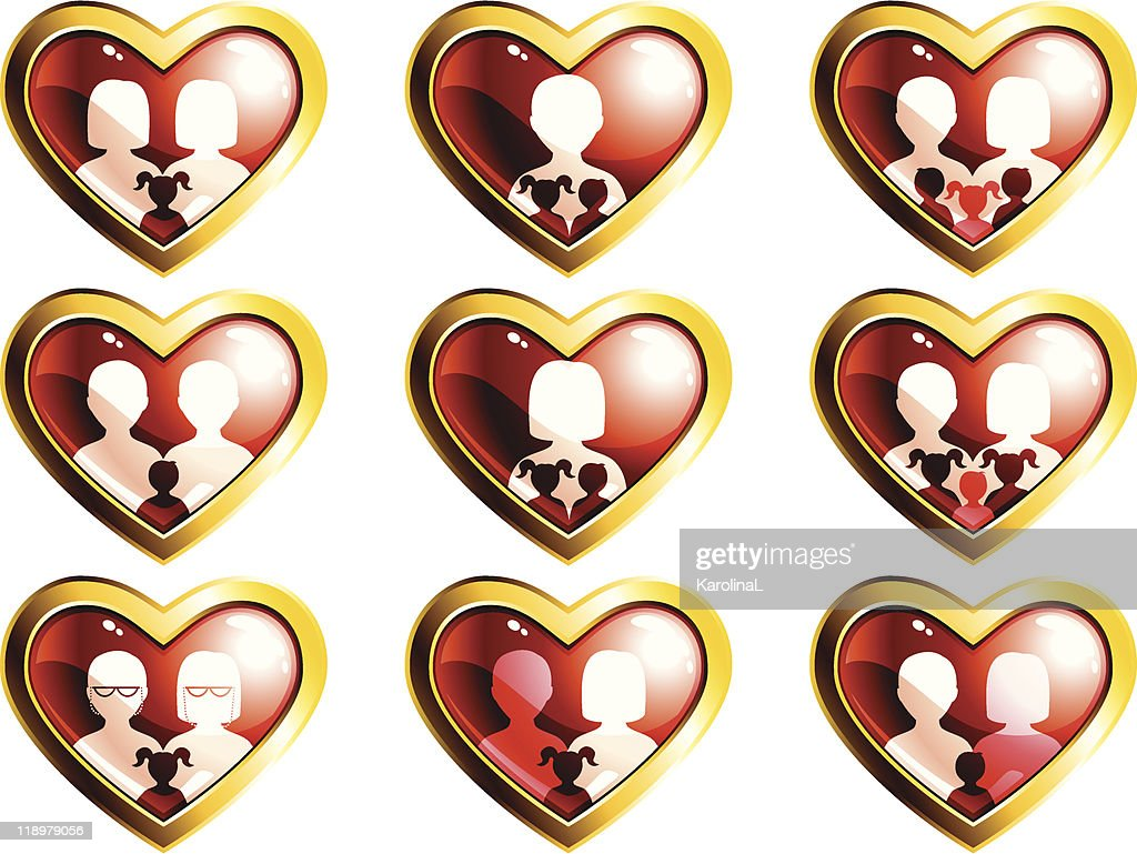 Non-traditional families heart-shaped buttons
