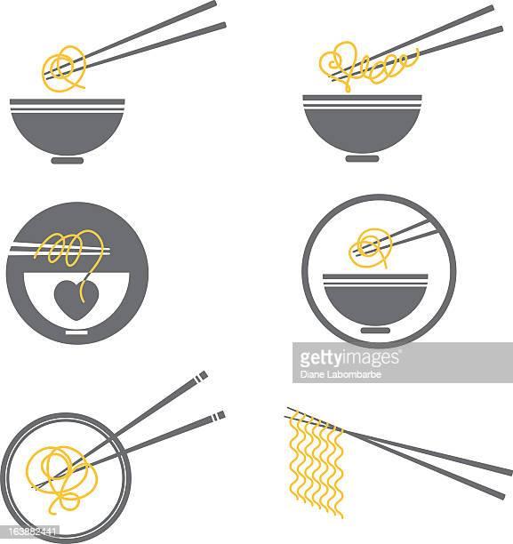 noodle bowl icon set - chopsticks stock illustrations, clip art, cartoons, & icons