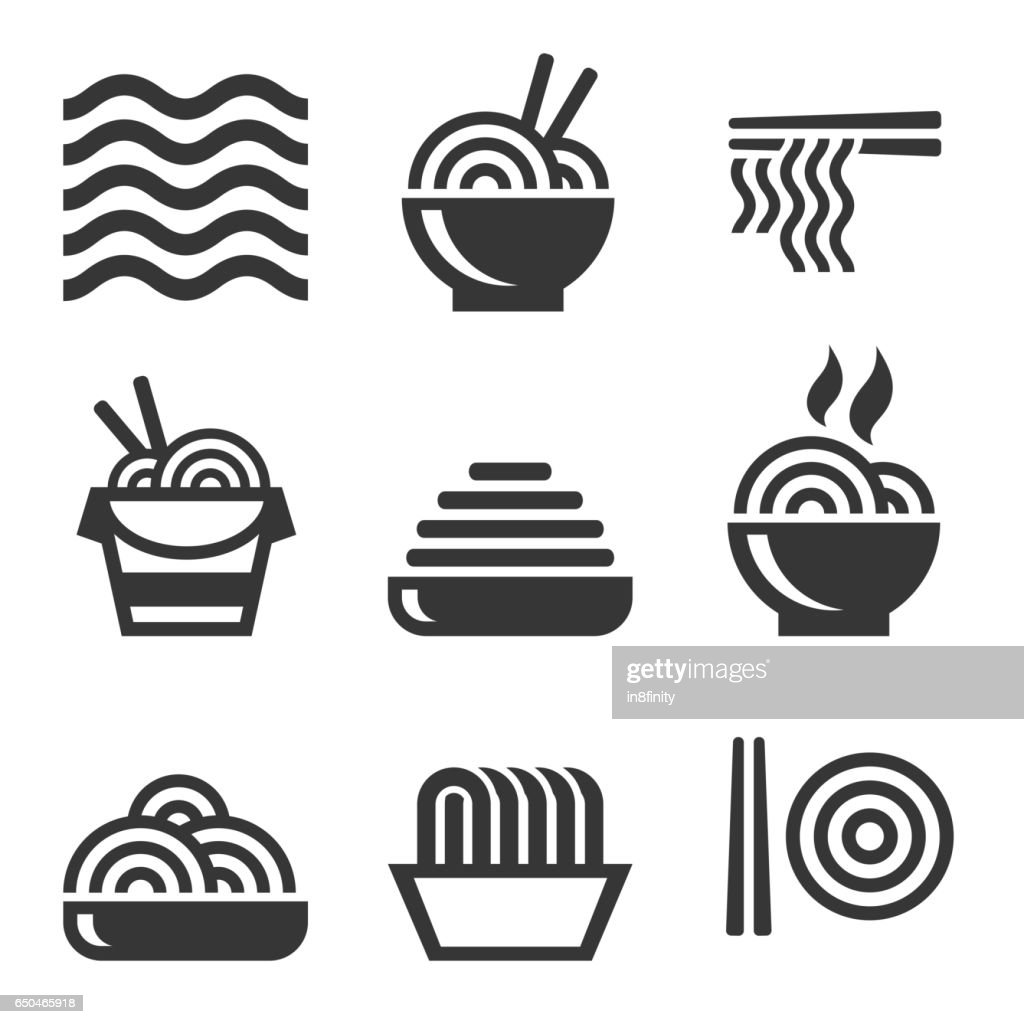 Noodle Icons. Asian Food. Vector