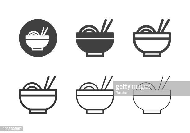noodle icons - multi series - miso sauce stock illustrations