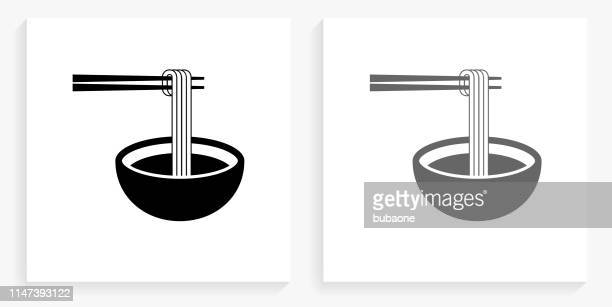 noodle soup black and white square icon - chopsticks stock illustrations, clip art, cartoons, & icons