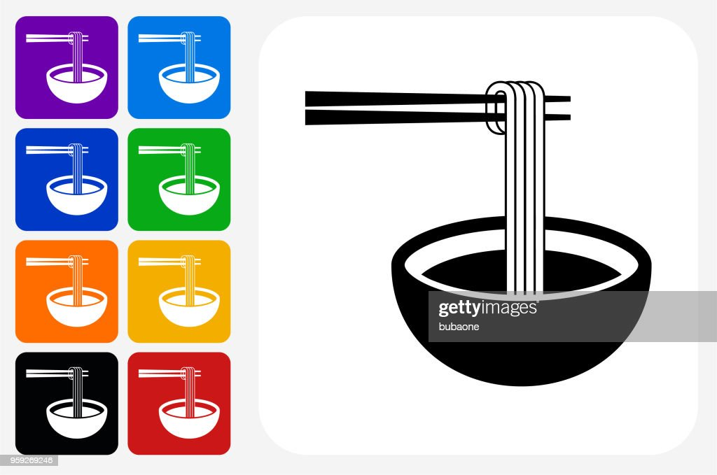 Noodle Soup Icon Square Button Set High Res Vector Graphic Getty Images