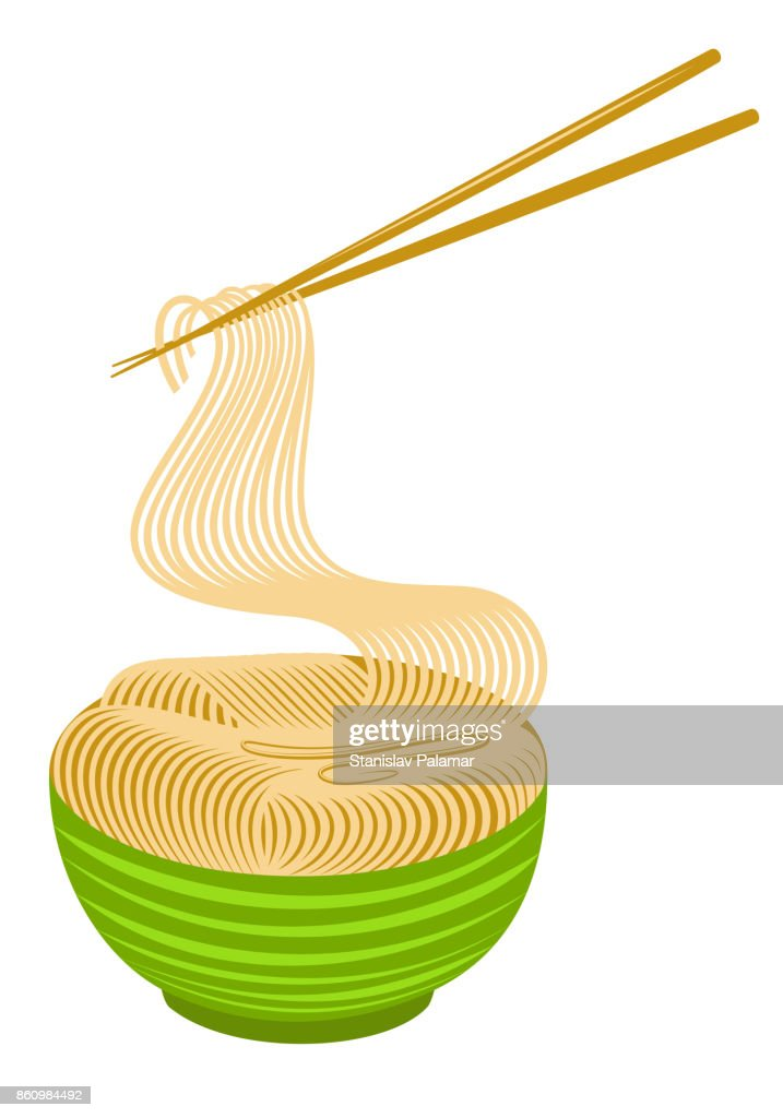 Noodles Bowl with Chopsticks.