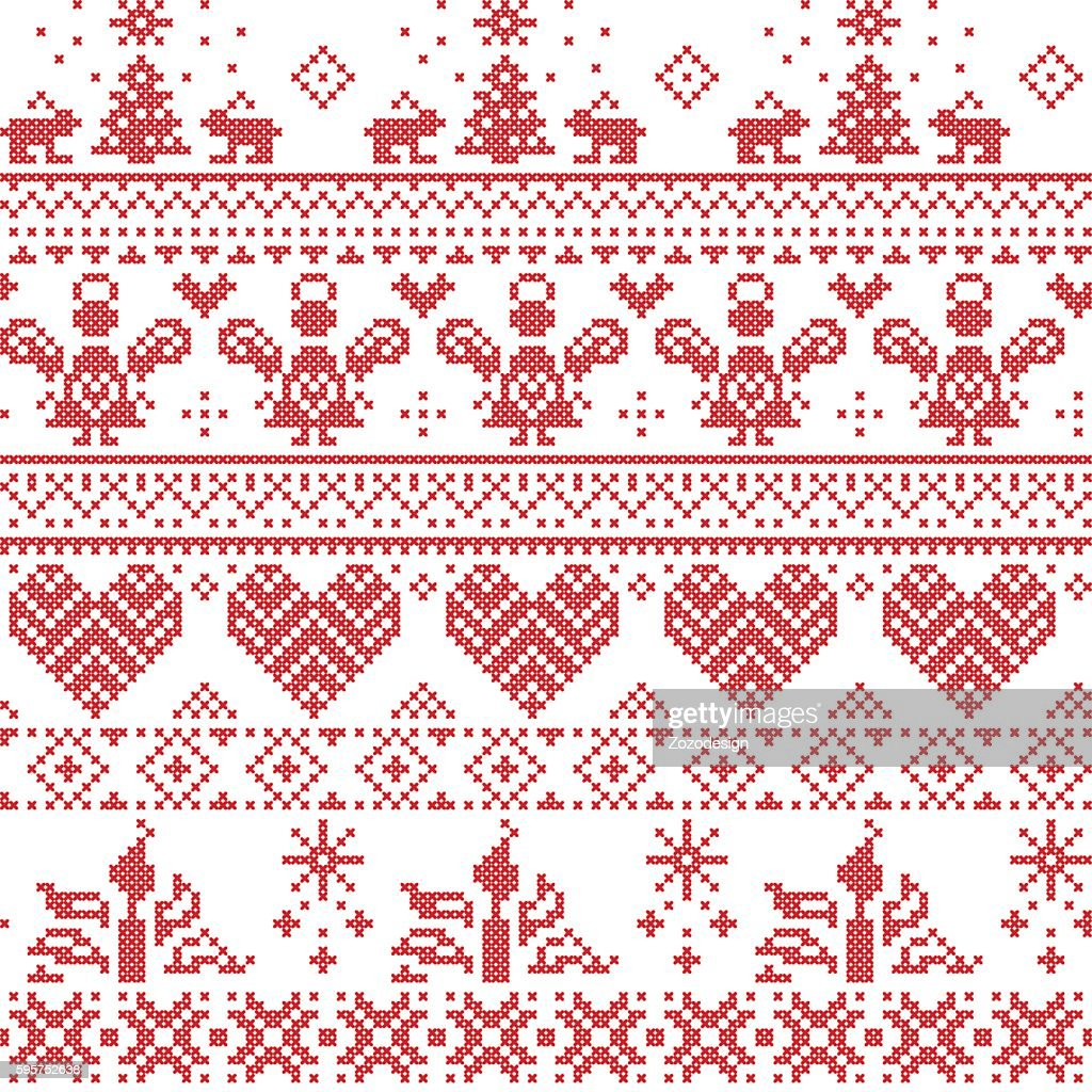 Nordic Christmas Pattern With Angels Rabbits Christmas Tree Hearts ...