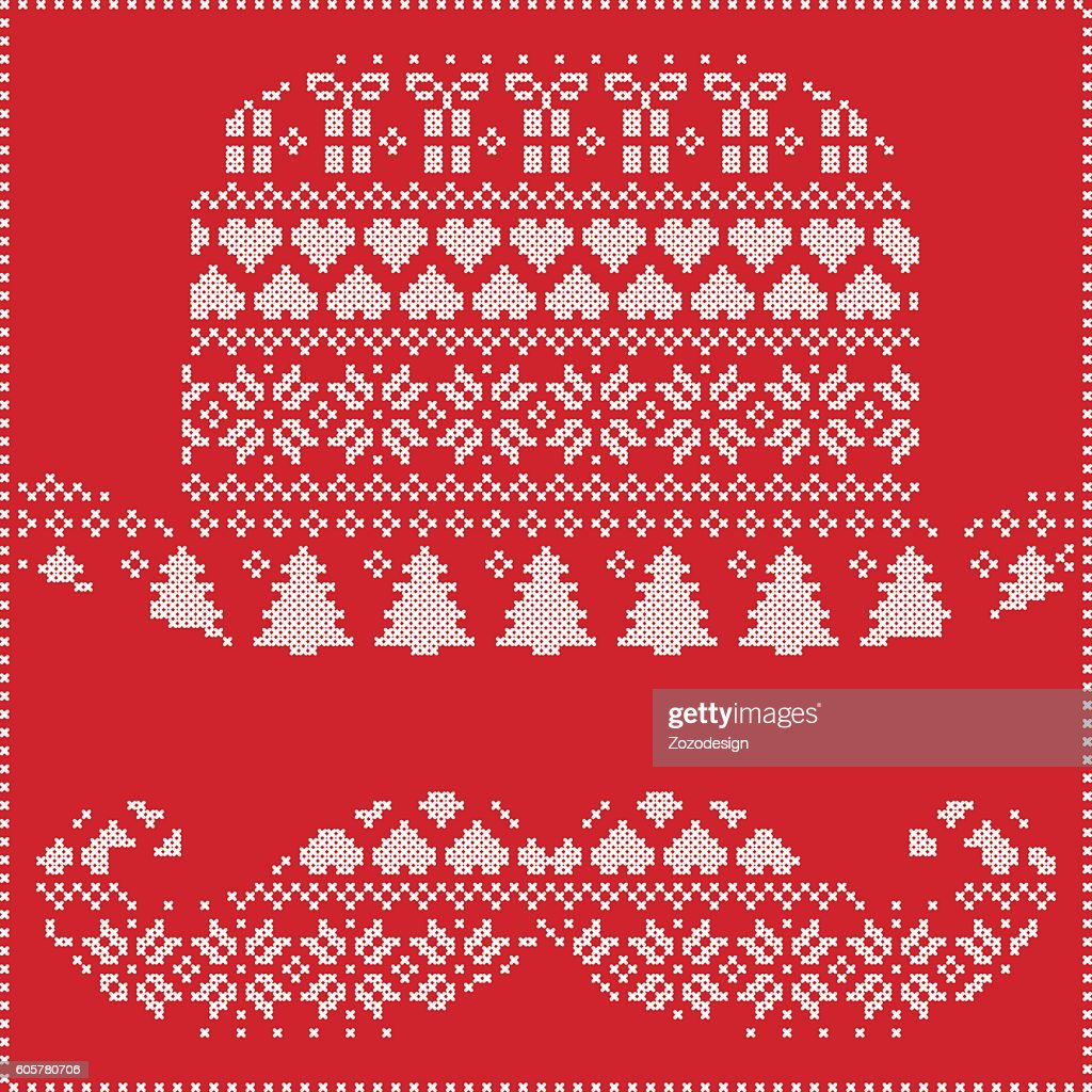Nordic Christmas Pattern With Hipster Mustache Hat On Red Background ...