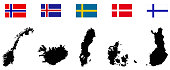 Nordic countries maps and flags
