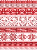 Nordic style and inspired by Scandinavian Christmas pattern illustration in cross stitch, in red and white including Robin , snowflake, heart, stars, and decorative seamless ornate patterns