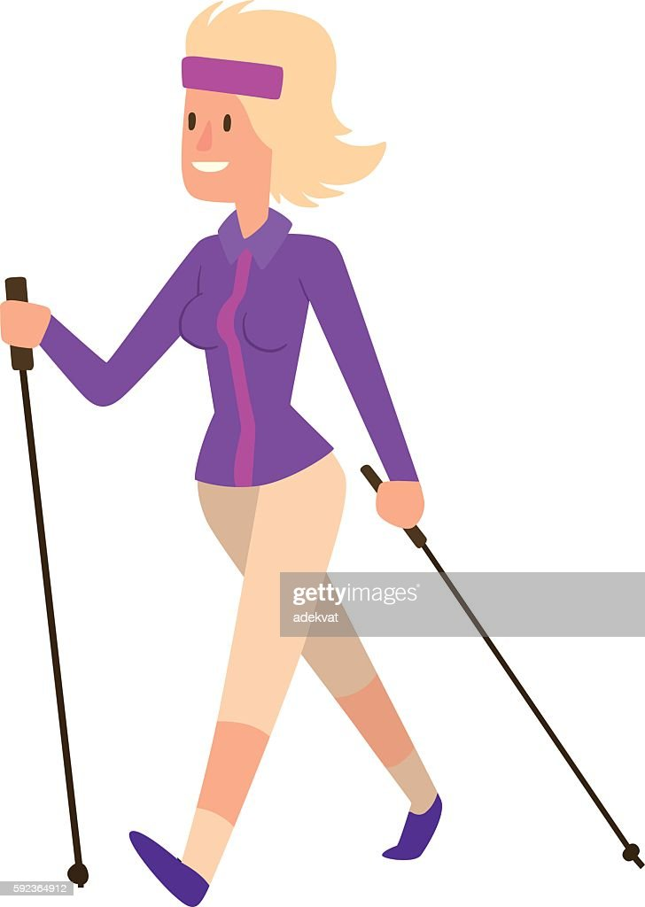 Nordic walking sport vector character
