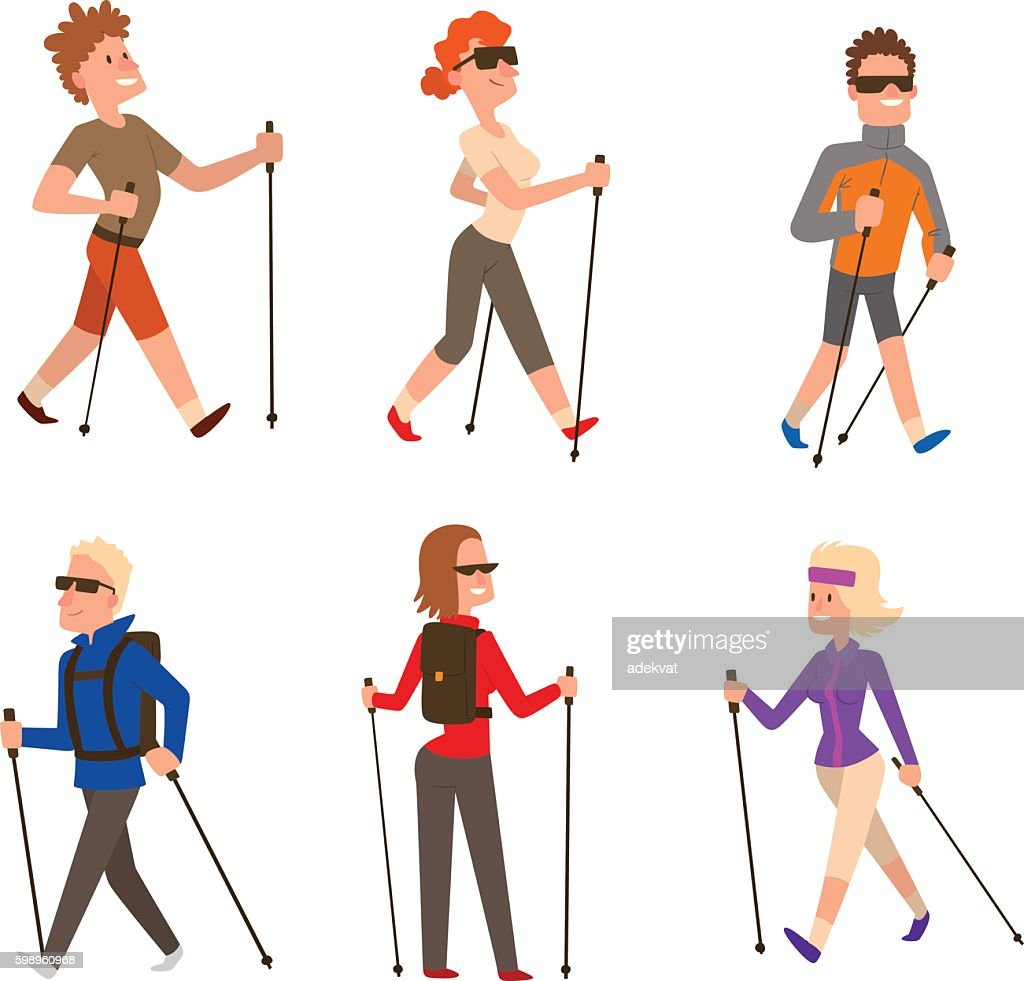 Nordic walking sport vector people