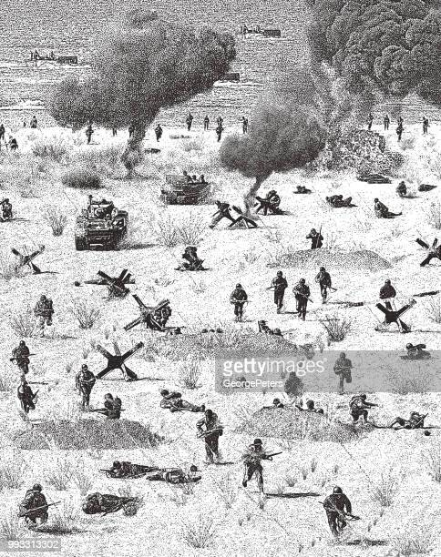 ww2 normandy invasion on omaha beach - world war ii stock illustrations