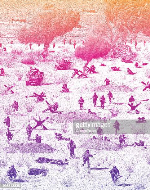 ww2 normandy invasion on omaha beach - d day stock illustrations
