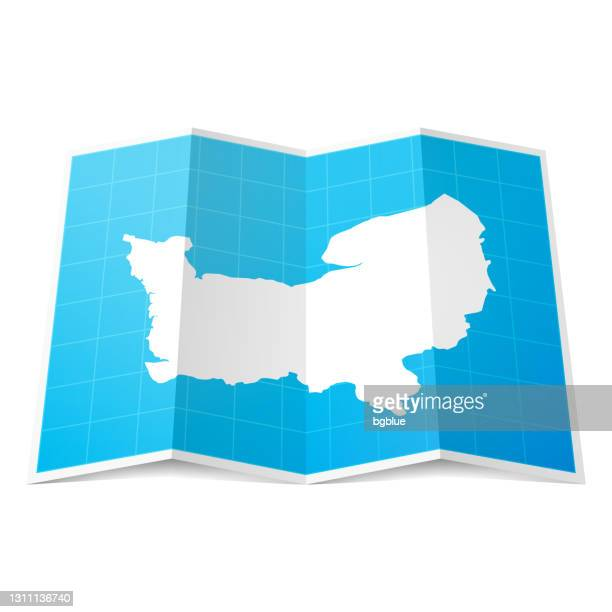 normandy map folded, isolated on white background - normandy stock illustrations