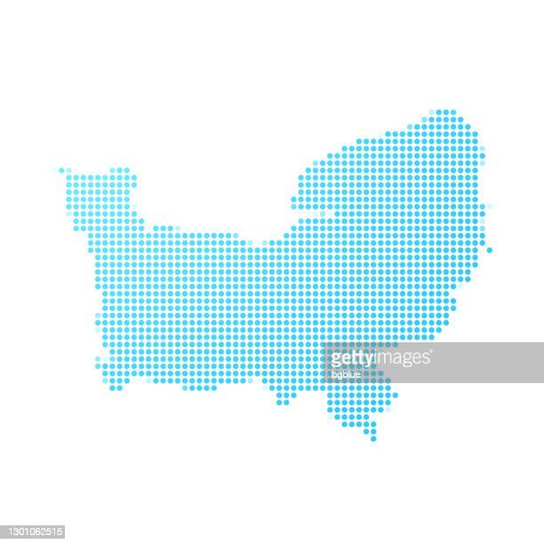 normandy map in blue dots on white background - normandy stock illustrations