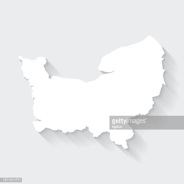 normandy map with long shadow on blank background - flat design - normandy stock illustrations