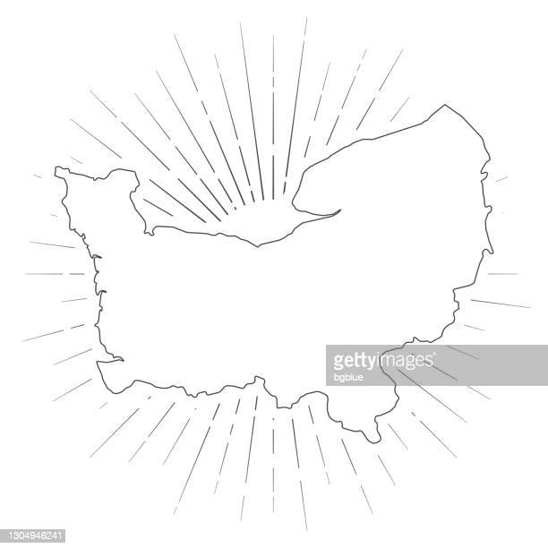 normandy map with sunbeams on white background - normandy stock illustrations