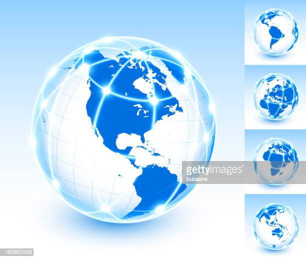 North America and Global Network Communication Globe with lights Background