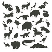 North America animals silhouettes, isolated on white background vector illustration