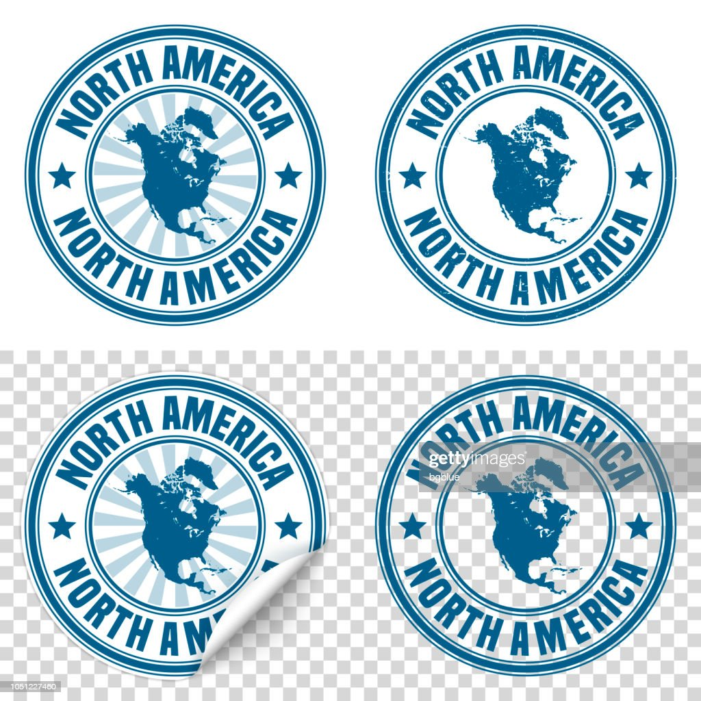 North America - Blue sticker and stamp with name and map