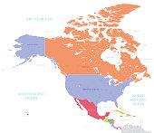 North America Colored Map