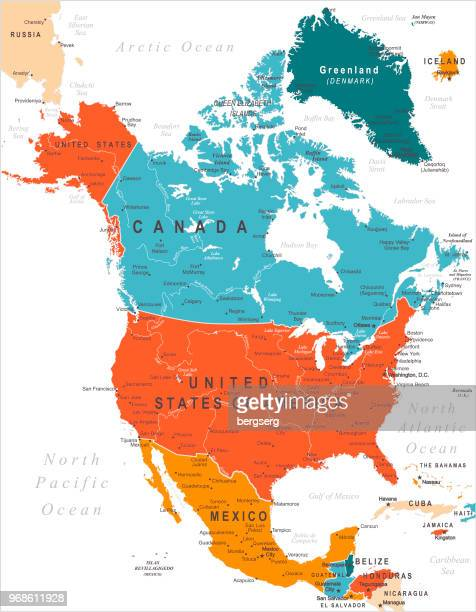 north america colored map - north america stock illustrations