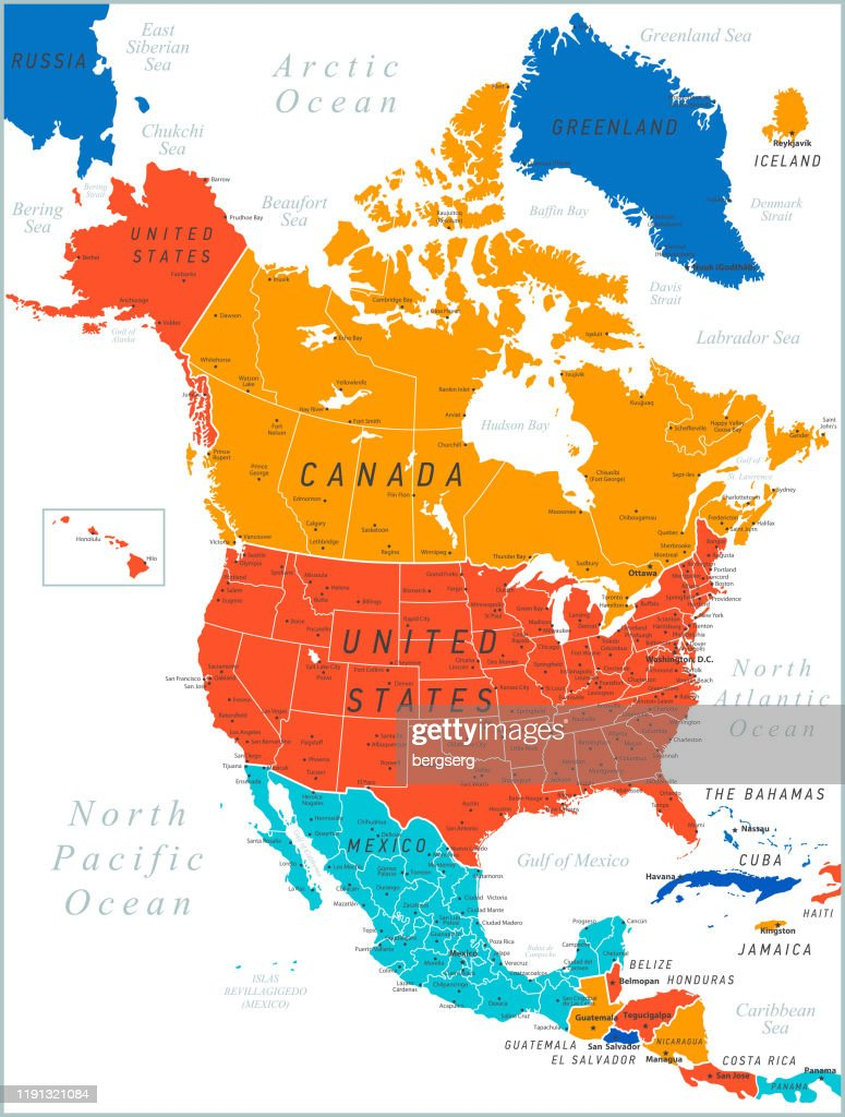 North America Colored Map Vector Illustration With United ...